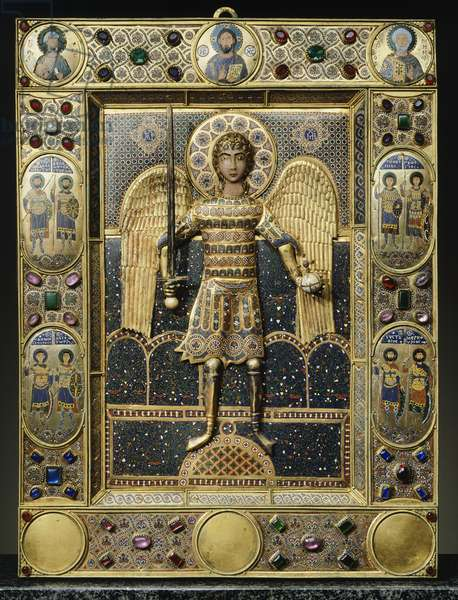 St Michael of Constantinople, icon, Treasury, St Mark's Basilica, Venice. Byzantine Goldsmith art, Italy, 11th century.