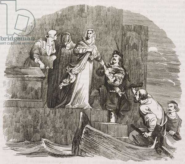 Escape of Mary Stuart (15421587), Queen of Scots, from Loch Leven castle on May 2, 1568, engraving from L'album, giornale letterario e di belle arti, February 5, 1848, Year 14