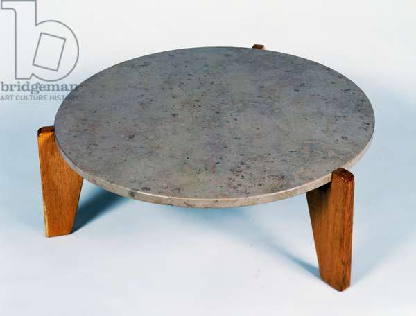 Gueridon Bas coffee table, by Jean Prouve (1901-1984), in solid oak and steel. France, 20th century.