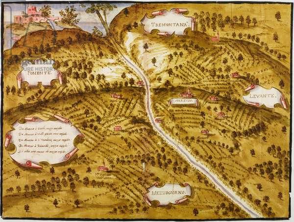 Parish territory of Maresso, parish of Missaglia, 1611, designed by Aragone Aragonio on occasion of the pastoral visit of Cardinal Federico Borromeo, perspective planivolumetric project, tempera ink drawing, Italy, 17th century