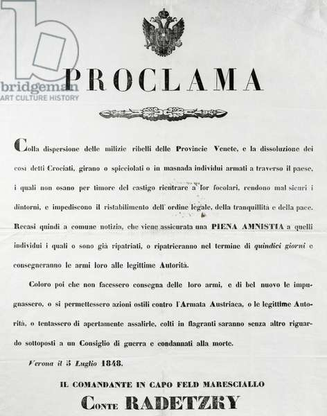 Proclamation of Field Marshal Radetzky granting amnesty to revolutionaries, Verona, July 5, 1848