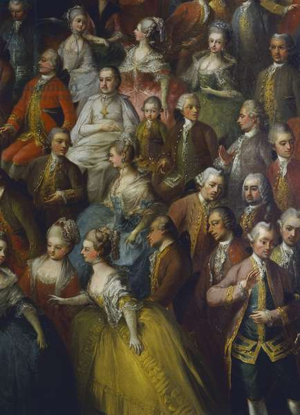 Theatre performance held on occasion of the wedding of Joseph II of Austria with Maria Isabella of Parma, October 6, 1760. Detail highlighting young Wolfgang Amadeus Mozart between his father Johann Mozart and Prince Sigismund-vescoco Schrattenbach