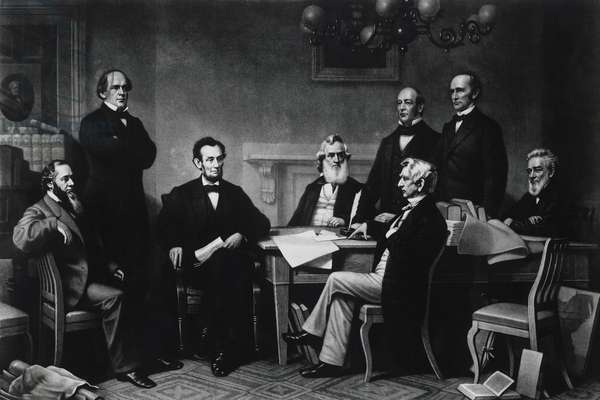 President Abraham Lincoln's first reading of the Emancipation Proclamation, July 22, 1862, engraving by Alexander Hay Ritchie, 1866, USA, 19th century