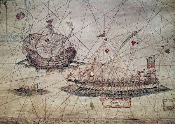 Galley and Portuguese caravel, detail from the Nautical chart of the Mediterranean, 1482, by Grazioso Benincasa (active in 15th century), 15th century