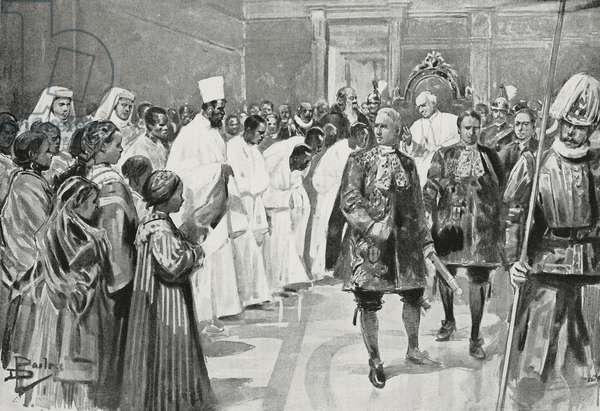 Father Michele da Carbonara presenting students of Catholic missions to Pope Leo XIII, Rome, Italy, drawing by Dante Paolocci, from L'Illustrazione Italiana, Year XXV, No 49, December 4, 1898