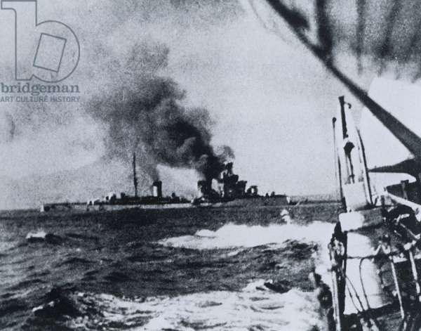 Sinking of Italian cruiser Bartolomeo Colleoni, during Battle of Cape Spada between British and Italians, 19 July, 1940, World War II, Greece, 20th century