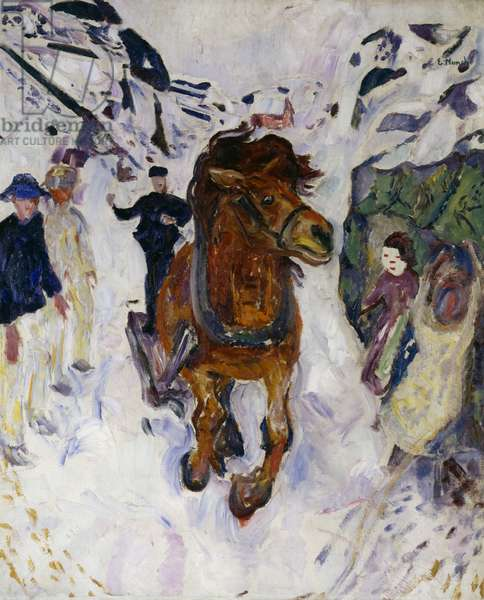 Galloping horse, 1910, by Edvard Munch (1863-1944), oil on canvas. Norway, 20th century.