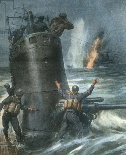 Cover illustration of British destroyer being sunk by Italian submarines in Atlantic Ocean, during World War II