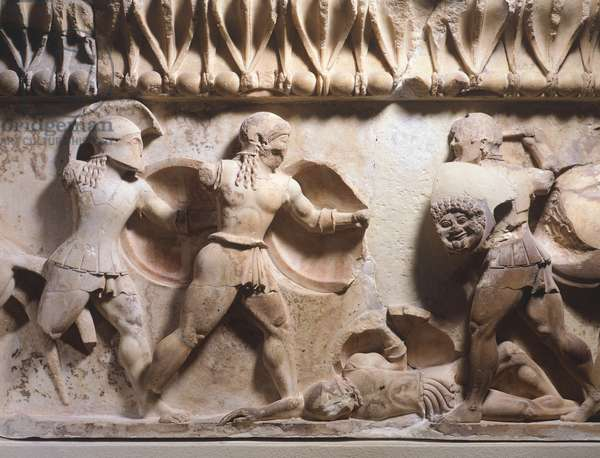 Detail of relief depicting battle scene, from Siphnian Treasury in Delphi, Greece,6th Century BC, Ancient Greece