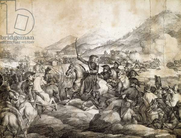 Battle of Chacabuco, February 1817, which decreed victory of Jose De San Martin over Spanish, by Theodore Gericault, drawing, Argentina, 19th century