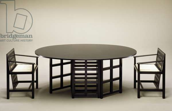 Table and chairs, 1903-1905, by Charles Rennie Mackintosh (1868-1928), United Kingdom, 20th century