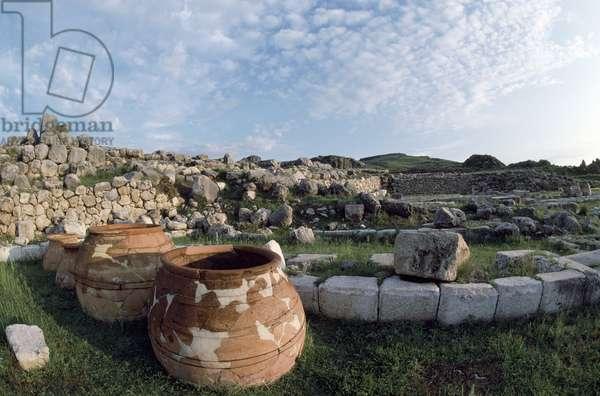 Jars in warehouses in lower town of Hattusa (Bogazkoy), capital of Hittite empire (UNESCO World Heritage Site, 1986), Turkey, Hittite civilization, 2nd millennium BC