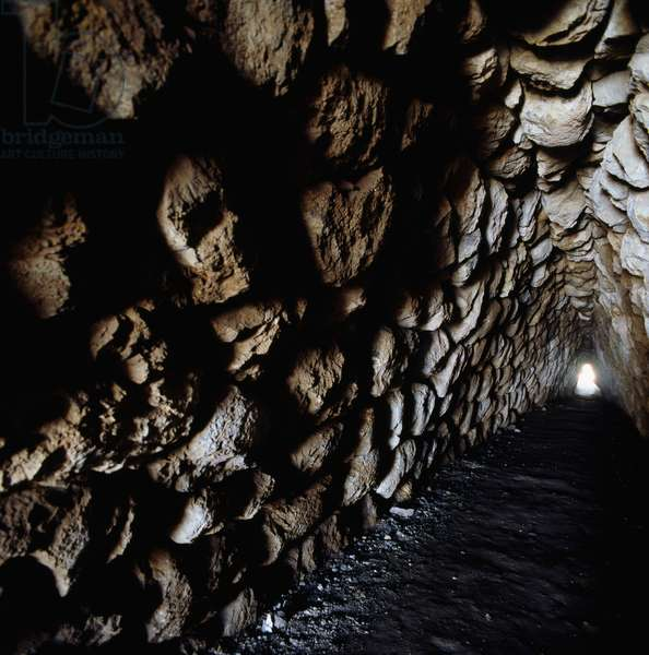 Tunnel in fortifications in Hattusa (Bogazkoy), capital of Hittite empire (Unesco World Heritage List, 1986), Bogazkale, Turkey, Hittite civilization, 2nd millennium BC, Detail
