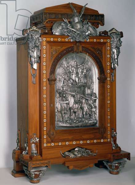 Cedar coin cabinet with walnut and ivory inlays in oak structure, silver plated copper and bronze decoration, 1867, by Charles Guillaume Diehl (1811-1885), Jean Brandely (active 1867-1873) and Emmanuel Fremiet (1824-1910),  France, 19th century