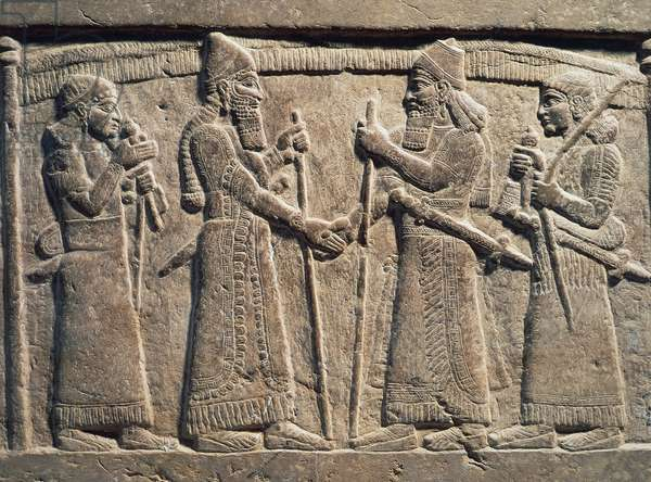 King Shalmaneser III of Assyria meeting Babylonian, detail from Shalmaneser III's throne, relief on stone, Assyrian civilization, 9th century BC