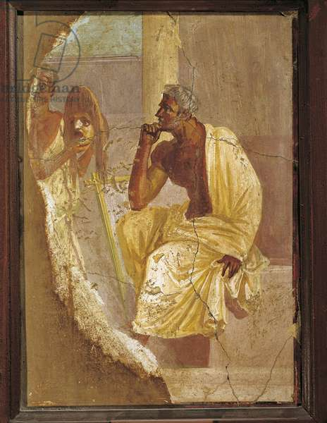Fresco depicting actor and tragic mask, from Pompei, Italy