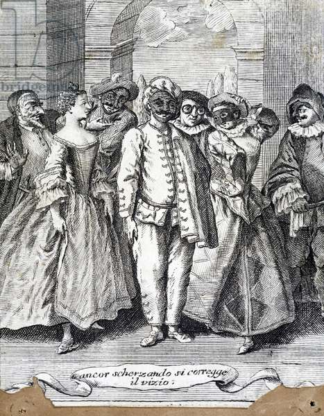 Masked characters, communique at the entrance Teatro di San Samuele in Venice during the Carnival of 1758, engraving, Italy, 18th century