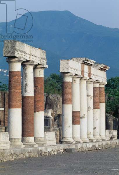 Colonnade in front of Building of Eumachia, Forum of Pompeii (UNESCO World Heritage Site, 1997), Italy, Roman civilization, 1st century