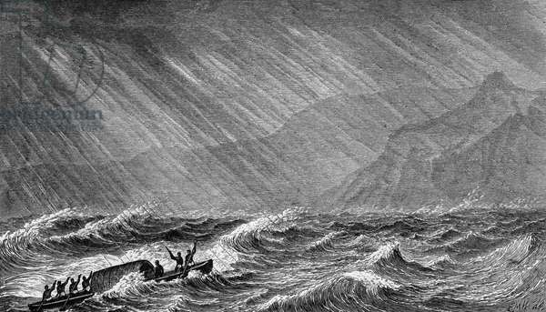 Storm on Lake Albert, Uganda, engraving from Albert N'yanza: great basin of Nile, and explorations of Nile sources, by Samuel White Baker (1821-1893), London, 1866