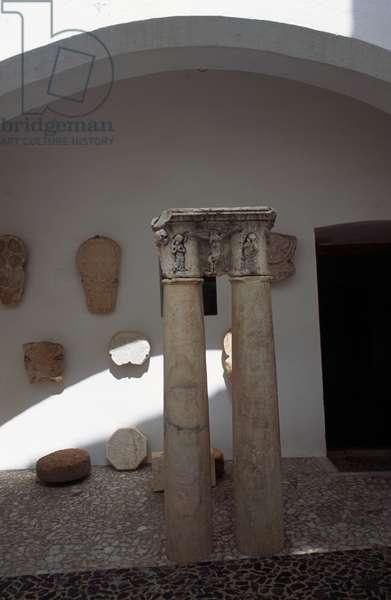 Courtyard with medieval ruins, castle of Estremoz, Alentejo, Portugal