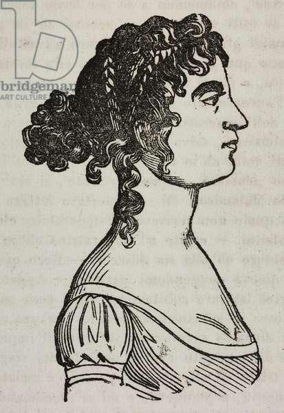 Portrait of Josephine of Beauharnais (1763-1814), in 1800, illustration from Teatro universale, Raccolta enciclopedica e scenografica, No 383, November 6, 1841