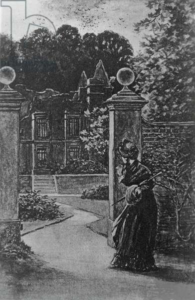Ruins of Thornfield Hall, Chapter XXXVI, illustration by H S Greig for Jane Eyre, Bildungsroman by Charlotte Bronte (1816-1855), published by J M Dent and Company, 1896, London
