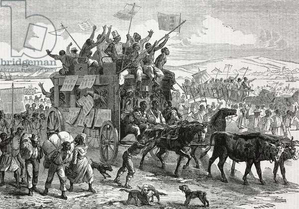 Emancipated slaves travelling north waving Lincoln's proclamation, United States of America, illustration from Il Giornale Illustrato, Year 2, No 33, August 19-25, 1865