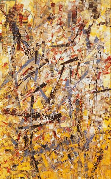 Painting, 1955, by Jean-Paul Riopelle (1923-2002), oil on canvas, 115x72 cm. Canada, 20th century.