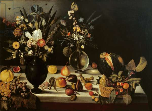 Still life with flowers and fruit, by Master of the Hartford Still Life, c.1600-10 (oil on canvas)