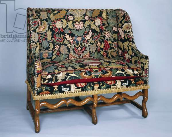 Louis XIII style canape (elegant sofa) with bowed frame and gros point upholstery, France, 17th century