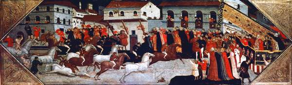 Palio horse race in the streets of Florence, painting by Giovanni di Francesco Toscani (ca 1370-1430), detail of the panel from the cassone (chest), Italy, 15th century