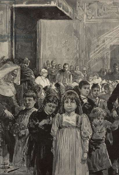 Reception of children at jubilee celebrations of Pope Leo XIII, Vatican, engraving after drawing by Dante Paolocci, from L'Illustrazione Italiana, Year XX, No 4, January 22, 1893