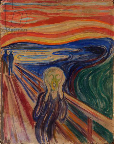 The Scream, 1893, by Edvard Munch (1863-1944), oil, tempera and pastel on cardboard, 83x66 cm. Norway, 20th century.
