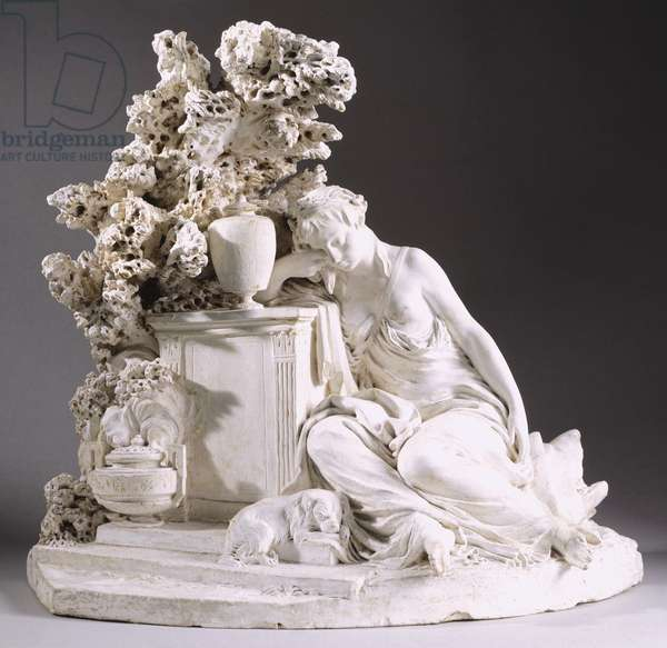 Allegory of friendship weeping over grave, by Jean Jacques Caffieri (1725-1792), plaster sculpture