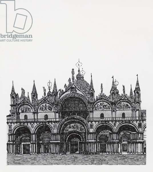 St Mark's basilica in Venice, drawing, Italy
