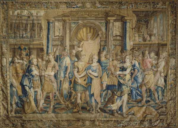 The Rape of the Sabine Women, detail of 17th century Flemish tapestry based on cartoon by Giulio Romano.