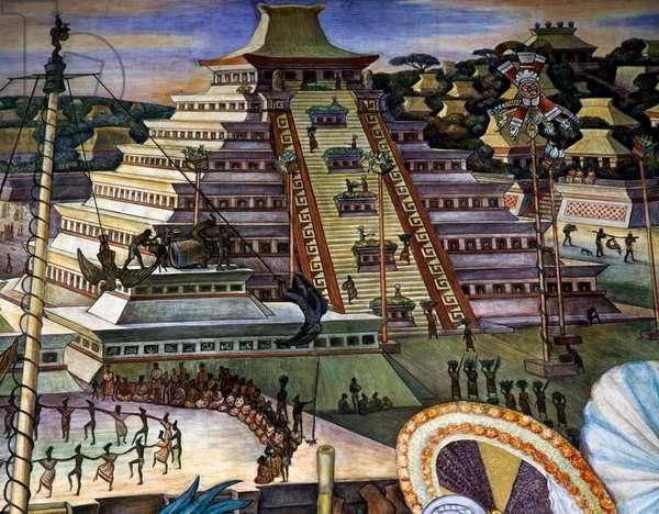 El Tajin pyramid, Totonaca civilisation, by Diego Rivera (1886-1957), detail from the National Palace frescoes, Mexico City. Mexico, 20th century.