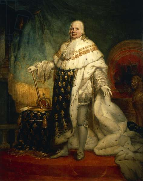 Portrait of Louis XVIII of France with the coronation robe (Versailles, 1755-Paris, 1824), King of France, painting by Pierre-Narcisse Guerin (1774-1833)