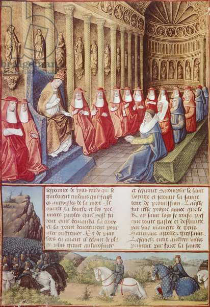 Pope Innocent IV ordering the excommunication and deposition of Frederick II of Hohenstaufend. Miniature, France 15th century.