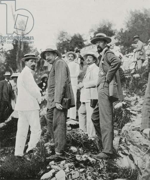 Plinio Nomellini (1866-1943), Gabriele D'Annunzio (1863-1938) and Clement Origo (1855-1921) at the Carrara mine, Italy