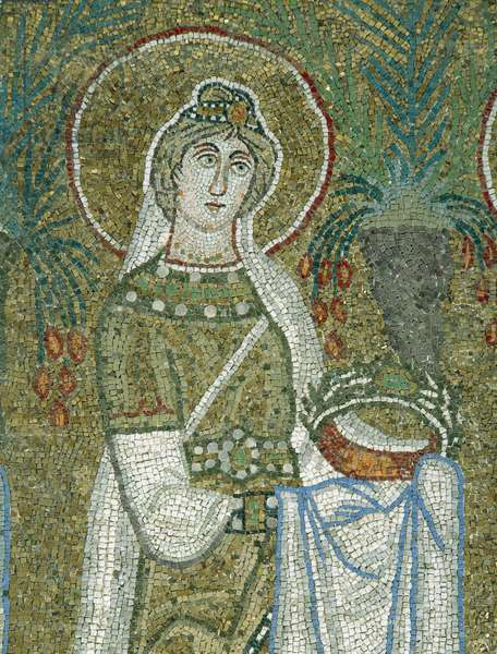 St Justina, detail from the Holy Virgins Procession, mosaic, north wall, lower level, Basilica of Sant'Apollinare Nuovo (UNESCO World Heritage List, 1996), Ravenna, Emilia-Romagna. Italy, 6th century.