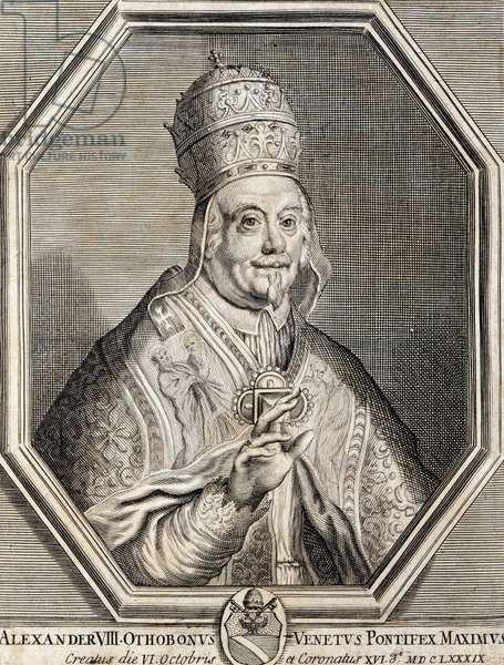 Portrait of Pope Alexander VIII, born Pietro Vito Ottoboni (Venice, 1610-Rome 1691), pope from 1689, engraving. Italy, 17th century