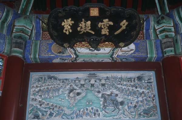 China, Beijing, painted wooden gallery in The Long Corridor at Imperial Summer Palace