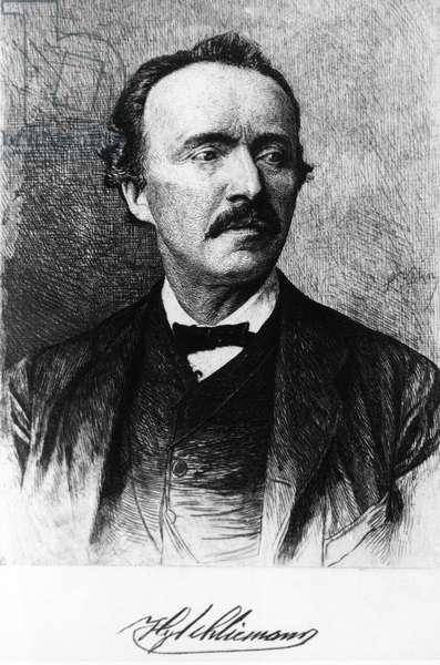 Portrait of Heinrich Schliemann (Neubukow, Germany, 1822-Naples, Italy, 1890), German entrepreneur and archaeologist, Engraving, 19th century