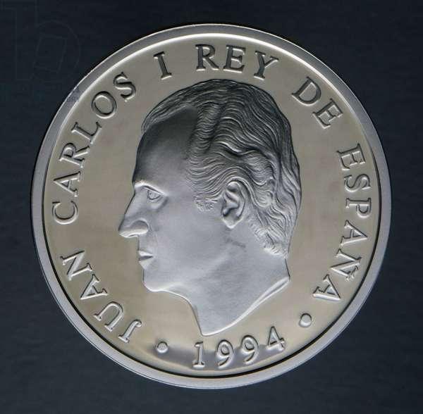 2000 pesetas coin, 1994, obverse, Juan Carlos I (1938-), Spain, 20th century