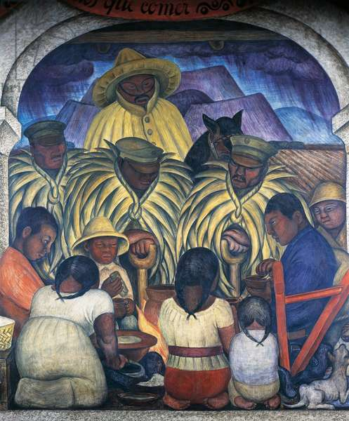 The rain, 1928, by Diego Rivera (1886-1957), detail from the Ministry of Education frescoes (1923-1928), Mexico City. Mexico, 20th century.