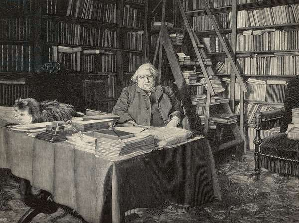 Ernest Renan (1823-1892), French philosopher and writer, inside his study, engraving from photograph by Dornac, from L'Illustrazione Italiana, year 19, no 41, October 9, 1892