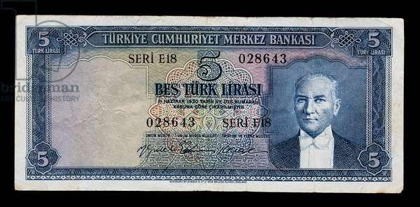 5 lirasi banknote, 1960-1969, obverse, portrait of Mustafa Kemal Ataturk (1881-1938), Turkey, 20th century