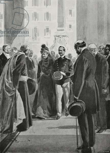 Vittorio Emanuele III and Queen Margherita arriving at Pantheon for commemoration of King Umberto I, Rome, Italy, drawing by Adriano Minardi, from L'Illustrazione Italiana, Year XXX, No 32, August 9, 1903
