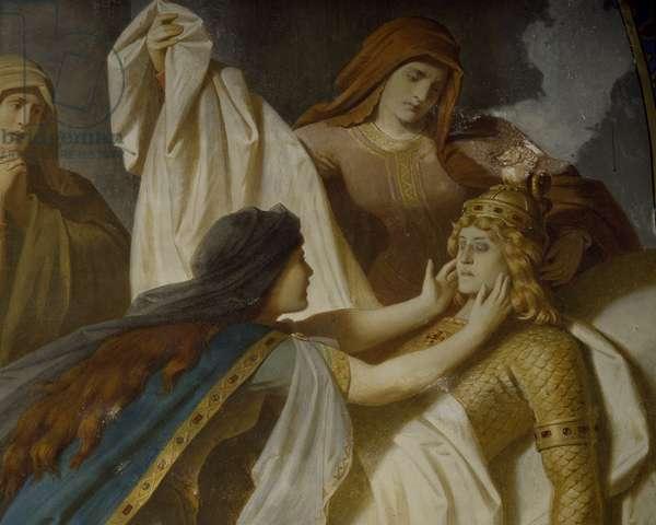 Germany, Fussen, Neuschwanstein Castle, Siegfried's Death, from cycle Ring of Nibelung, by Wilhelm Ernst Ferdinand Franz Hauschild (1827-1887). Detail